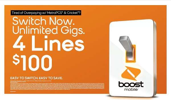 Boost Mobile Four Lines $100