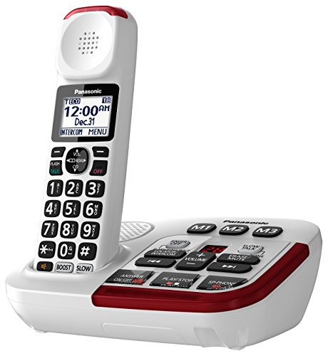 Best Cordless Phones for Seniors - Panasonic KX – TGM420W Amplified Cordless Phone with Digital Answering Machine