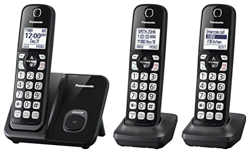 Best Cordless Phones for Seniors - Panasonic KX – TGD513B Expandable Cordless Phone with Call Block – 3 Handsets