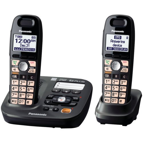 Best Cordless Phones for Seniors - Panasonic KX- TG6592T 2 Handsets Cordless Phone