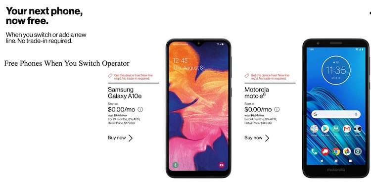 Free Phones When You Switch Operator - Switch to Verizon deals