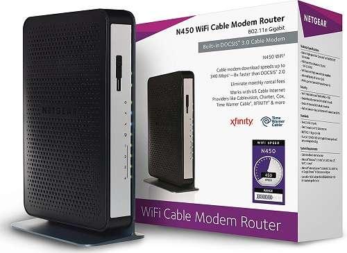 Netgear N450-100NAS (8x4) Wi-Fi DOCSIS 3.0 Cable Modem Router