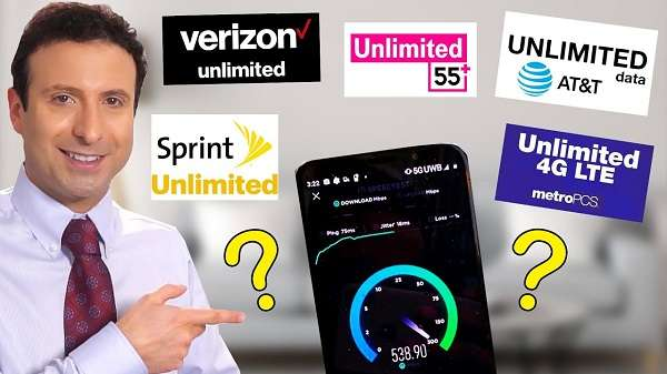 8 Unlimited data cell phone plans comparison chart